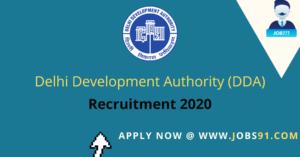 DDA Multiple Post Recruitment 2020 @ Jobs91.com