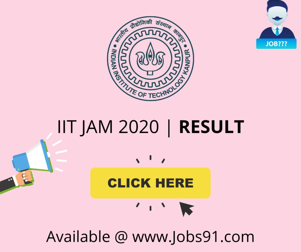 IIT JAM 2020 Result (Released) @ Jobs91.com