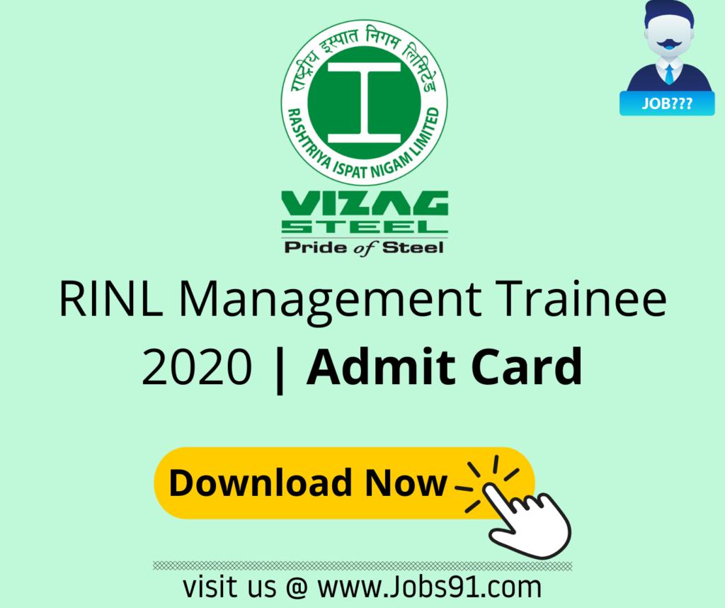 RINL Management Trainees Admit Card 2020 @ Jobs91.com