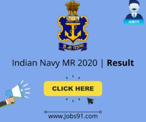 Indian Navy MR 2020 Result @ Jobs91.com