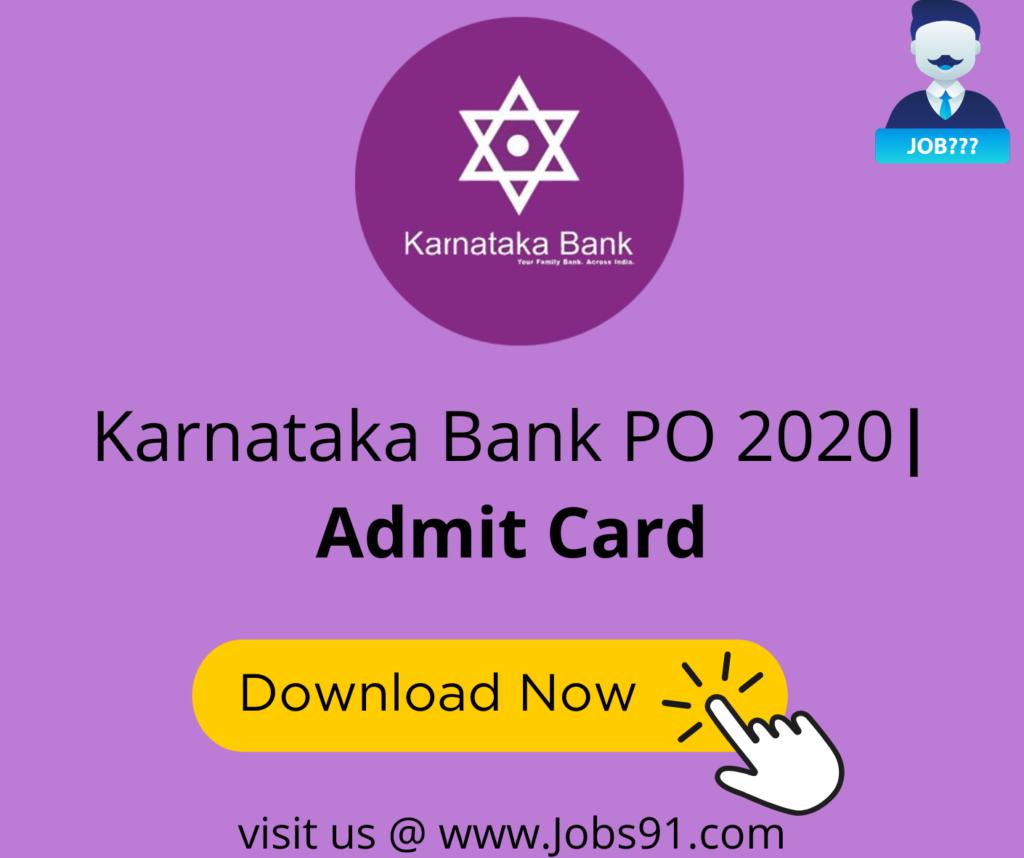 Karnataka Bank PO Admit Card @ Jobs91.com