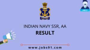 Indian Navy SSR & AA Result 2020 @ Jobs91.com