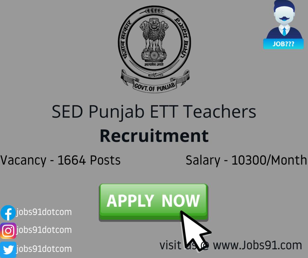 Punjab ETT Teachers Recruitment 2020 @ Jobs91.com