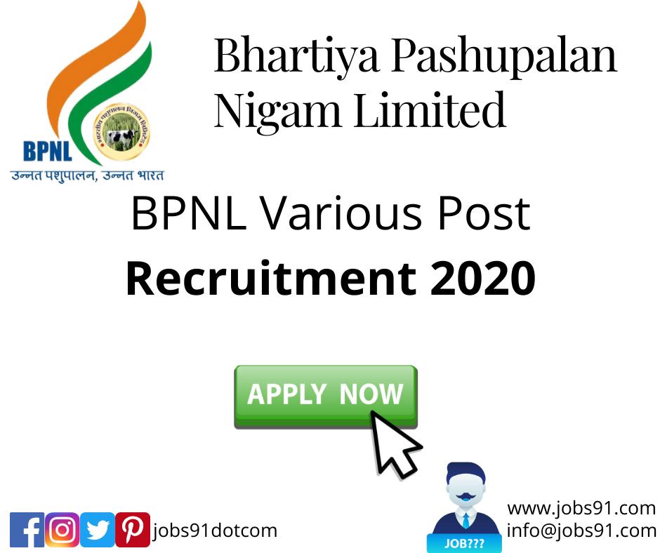 BPNL Recruitment 2020 @ Jobs91.com