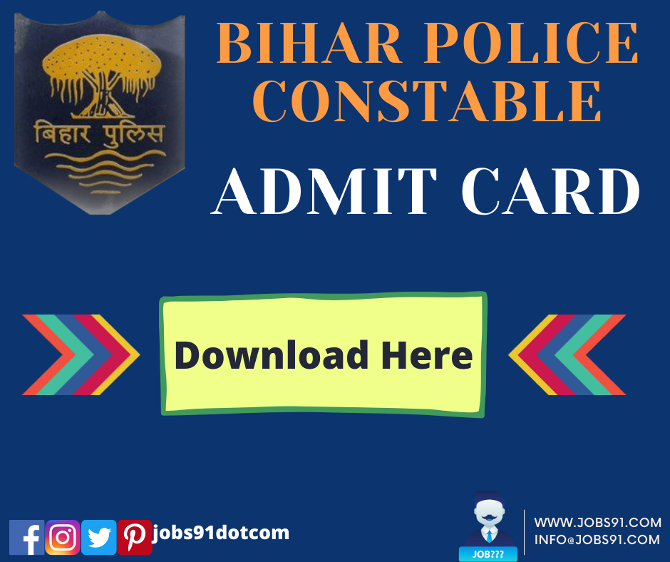 Bihar Police Constable Admit Card @ Jobs91.com