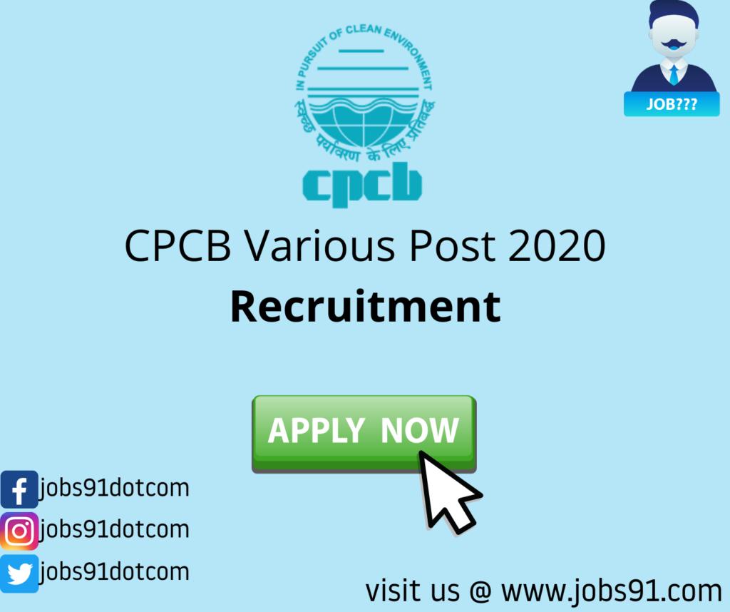 CPCB Various Post Recruitment 2020 @ Jobs91.com