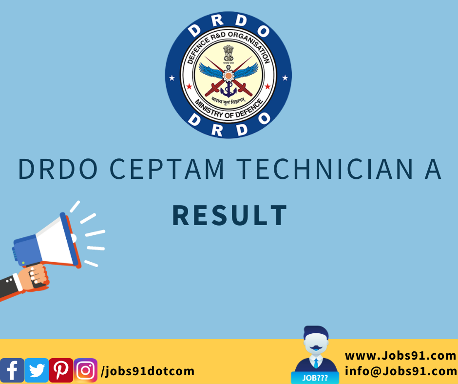 DRDO CEPTAM Technician A Result 2020 (Released) @ Jobs91.com