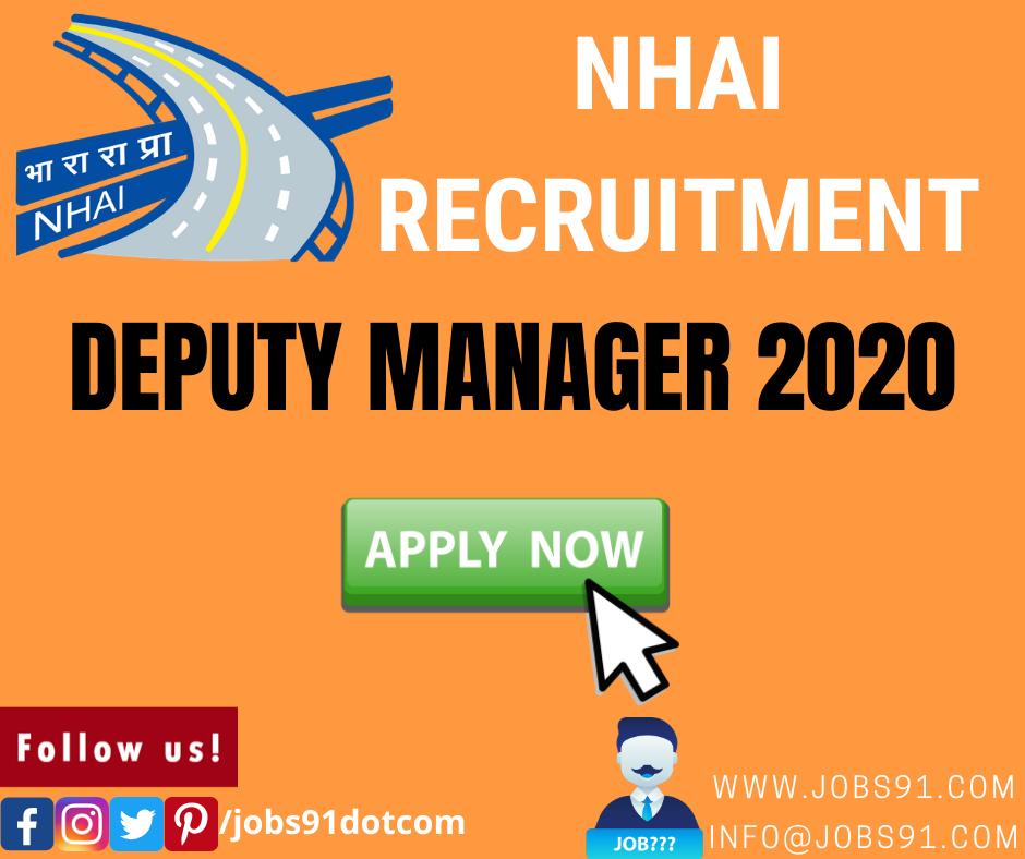 NHAI Deputy Manager Recruitment 2020 @ Jobs91.com