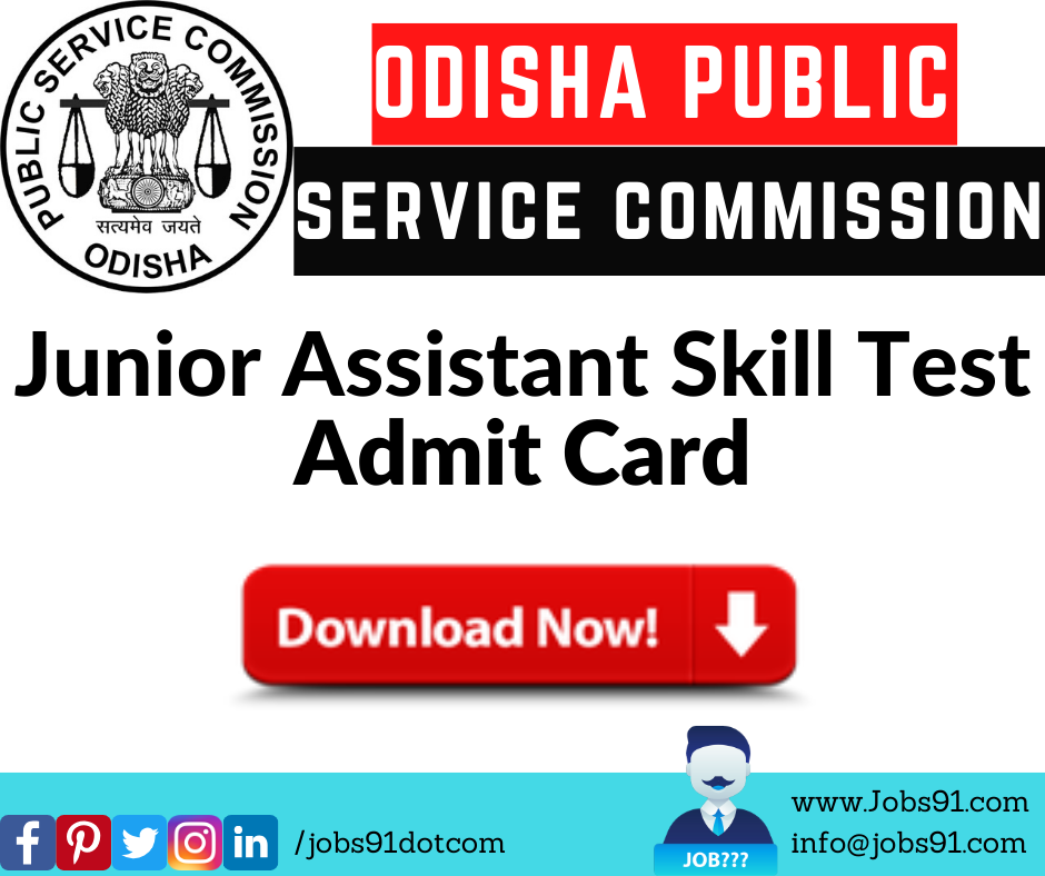 OPSC Junior Assistant Skill Test Admit Card @ Jobs91.com