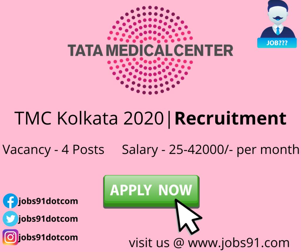 TMC Kolkata Recruitment 2020 @ Jobs91.com