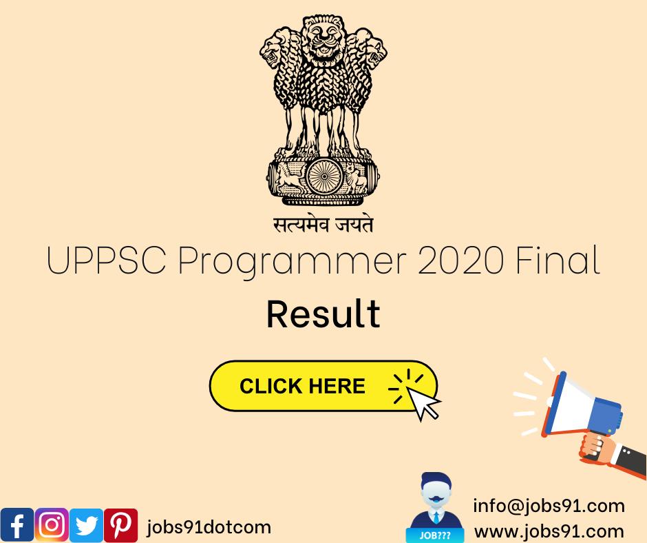 UPPSC Programmer Result @ Jobs91.com