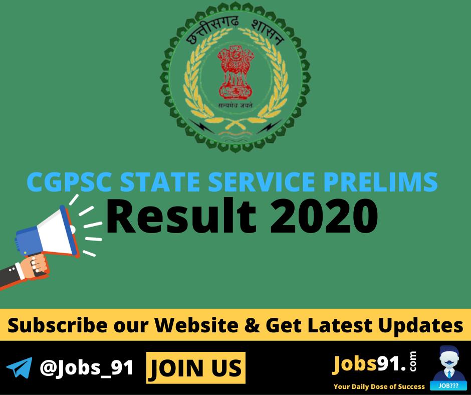 CGPSC State Service Prelims Result 2020 @ Jobs91.com