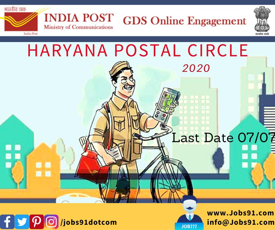 Haryana Postal Circle GDS Post 2020 @ Jobs91.com