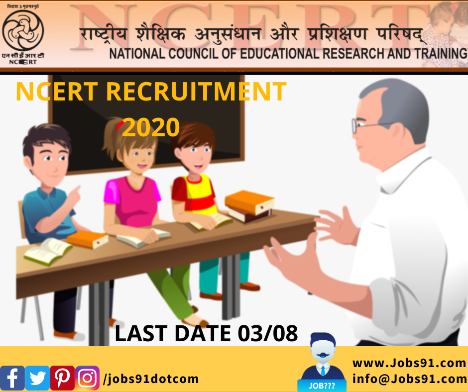 NCERT Teaching and Other Posts Recruitment 2020 @ Jobs91.com