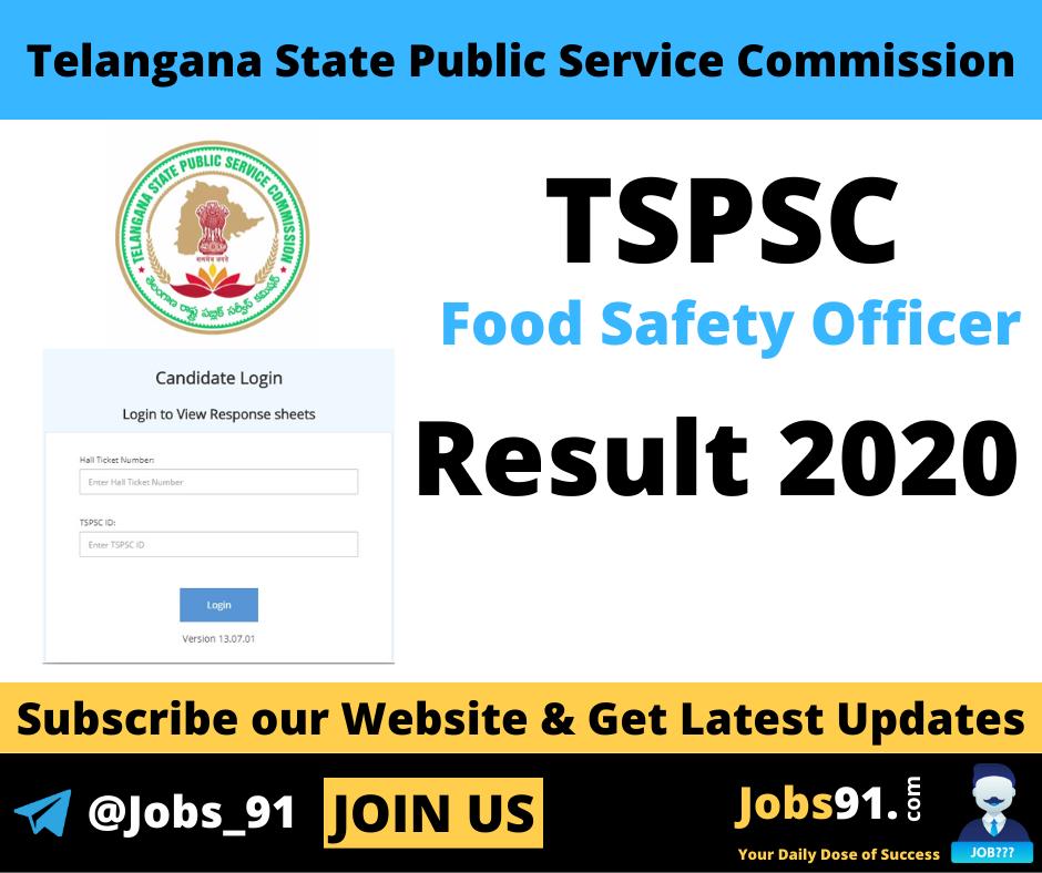 TSPSC Food Safety Officer Result 2020 @ Jobs91.com