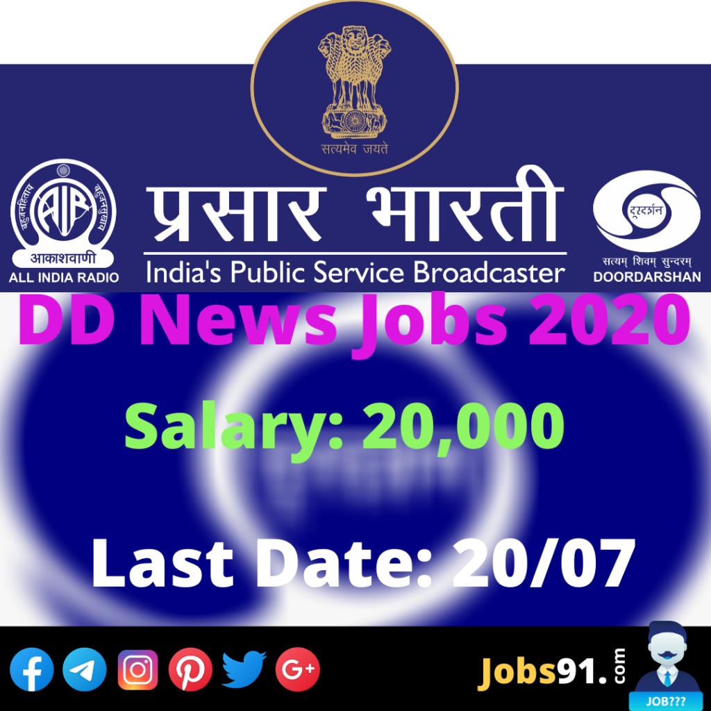 DD News Content Executive Jobs 2020 @ Jobs91.com
