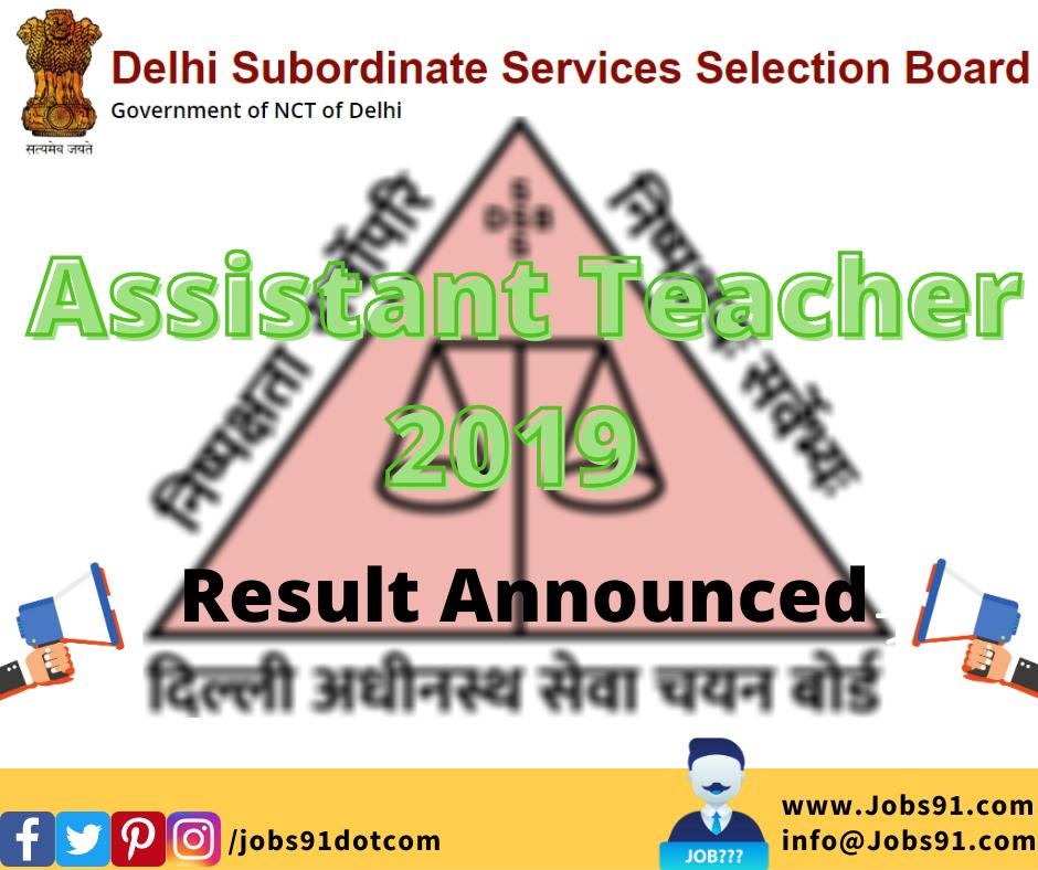 DSSSB Assistant Teacher Primary Result 2019 @ Jobs91.com