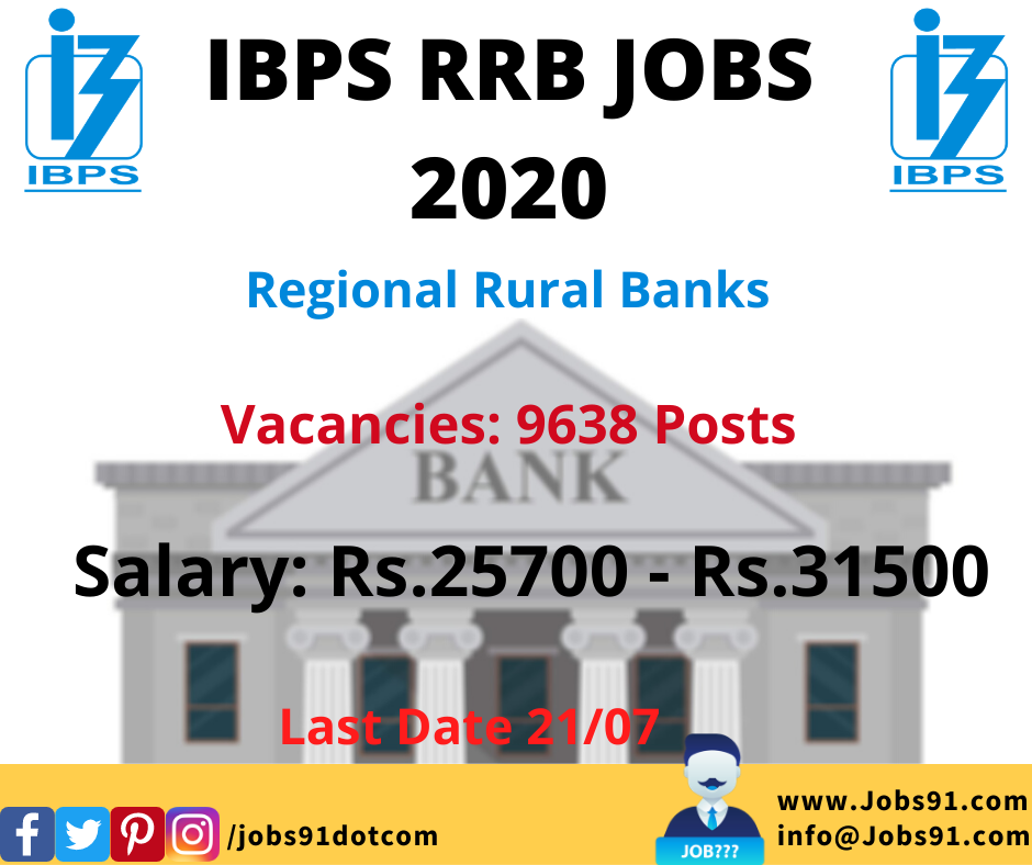 IBPS RRB Officers and Office Assistant Posts Recruitment 2020 @ Jobs91.com