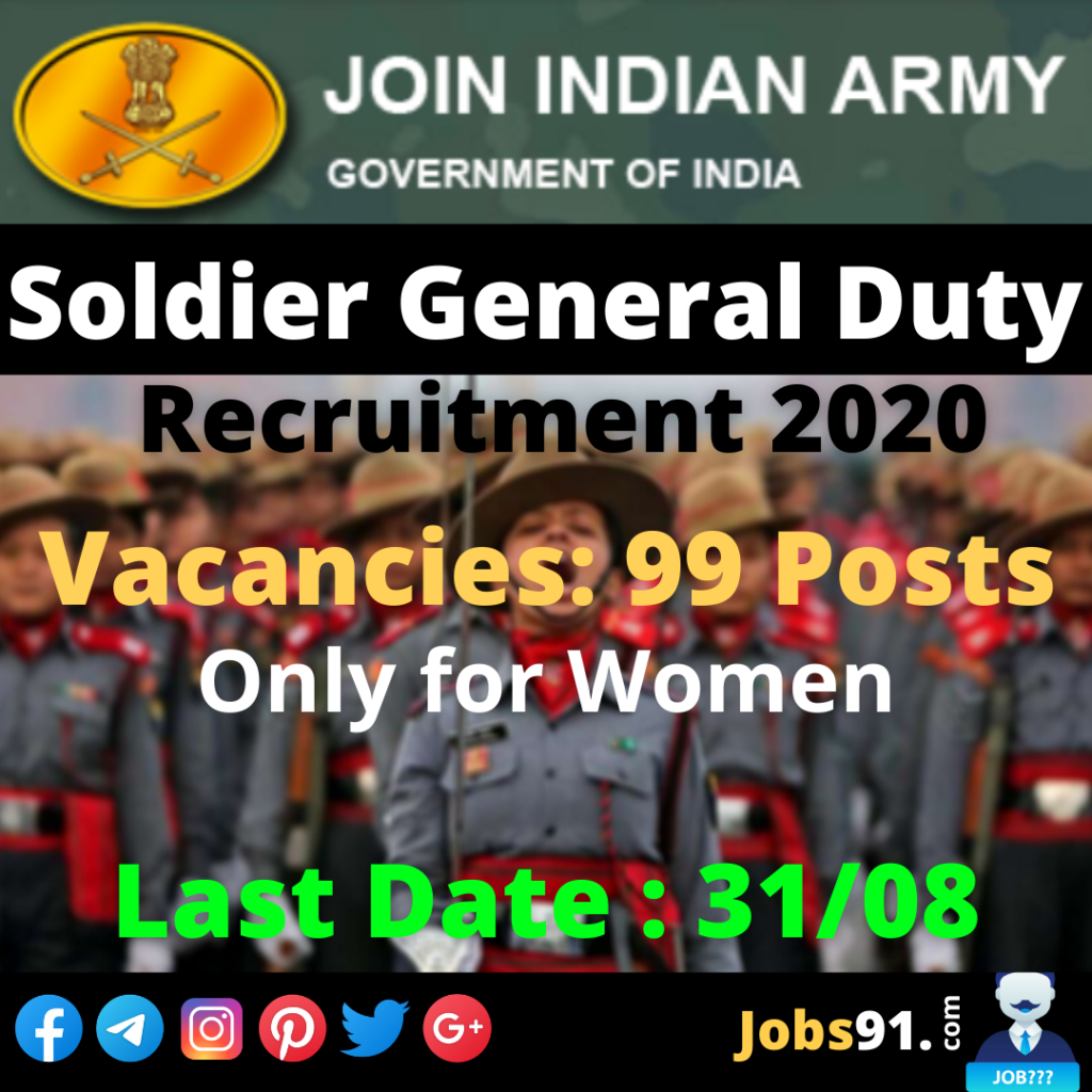 Indian Army Soldier General Duty Recruitment 2020 @ Jobs91.com