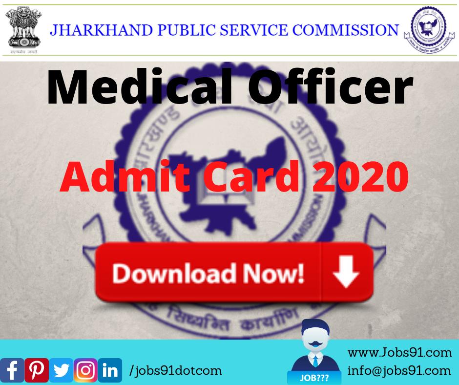 JPSC Medical Officer Admit Card 2020 @ Jobs91.com