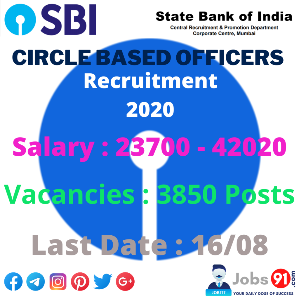 SBI Circle Based Officer Recruitment 2020 @ Jobs91.com