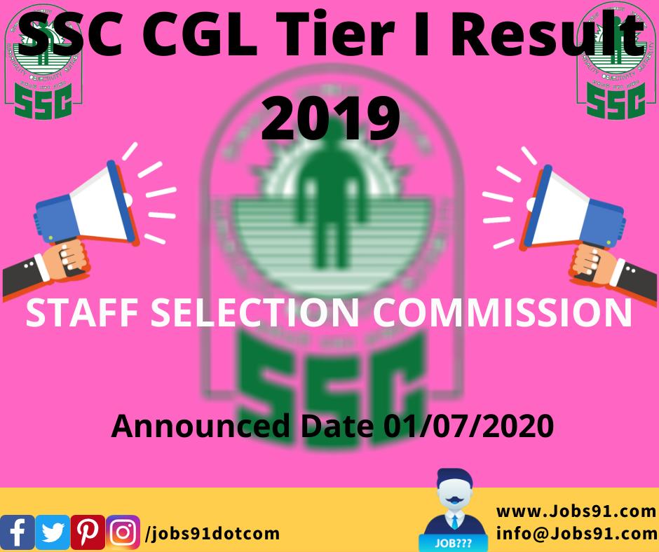 SSC CGL Tier I Result 2019 @ Jobs91.com