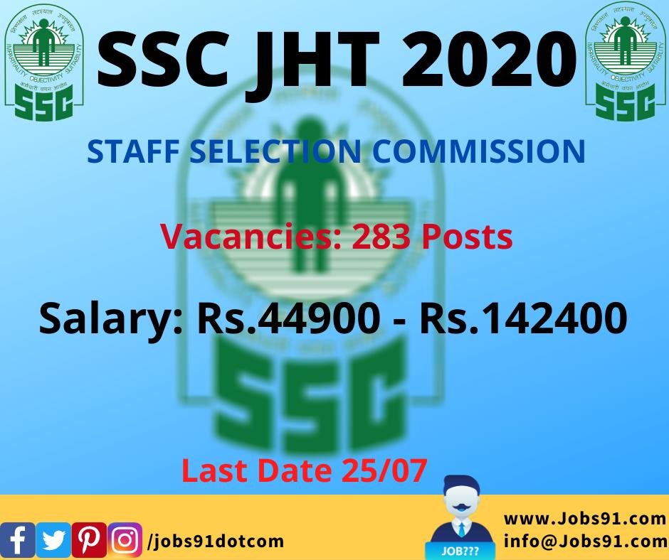 SSC JHT Recruitment 2020 @ Jobs91.com