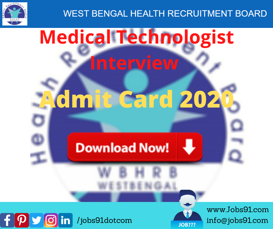 WBHRB Medical Technologist Interview Admit Card 2020