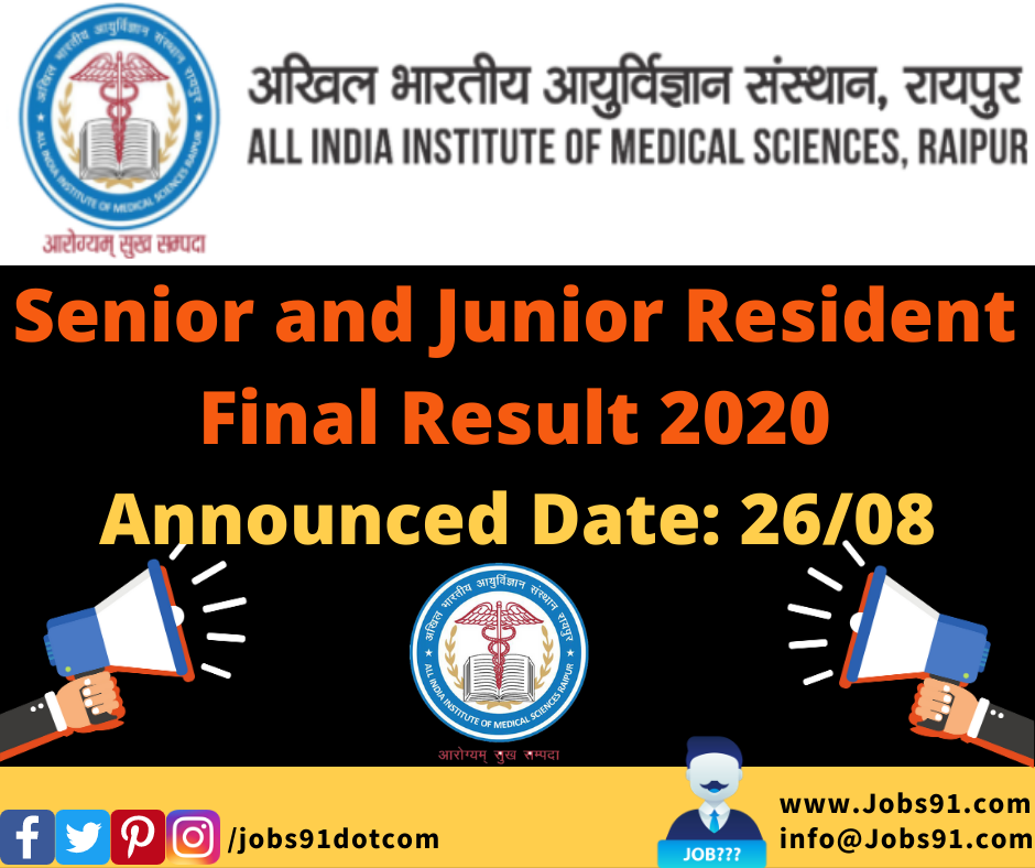 AIIMS Raipur Senior and Junior Resident Final Result 2020 @ Jobs91.com