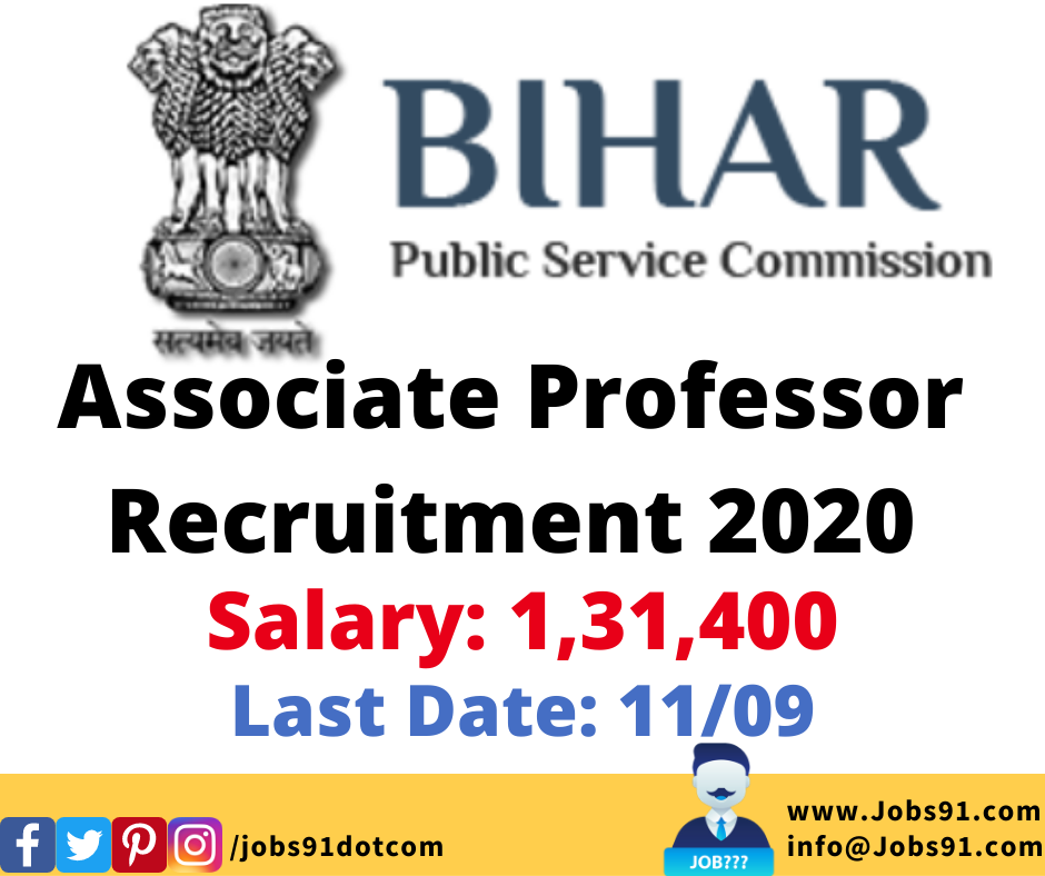 BPSC Associate Professor Recruitment 2020 @ Jobs91.com