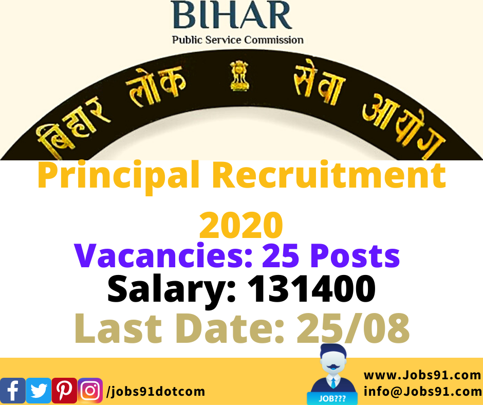 BPSC Principal Recruitment 2020 @ Jobs91.com