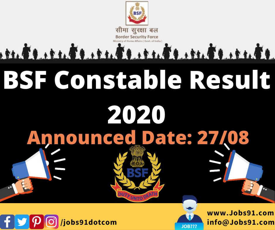 BSF Constable Result 2020 @ Jobs91.com