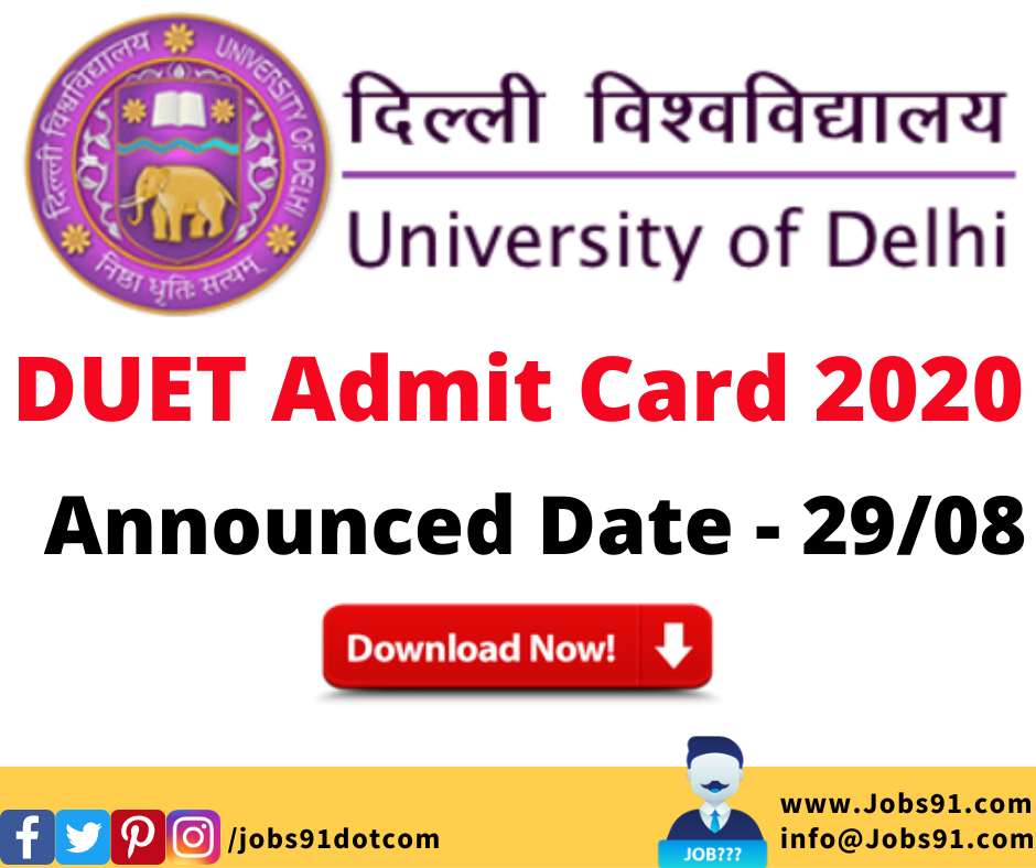 DU UG Entrance Exam DUET Admit Card 2020 @ Jobs91.com