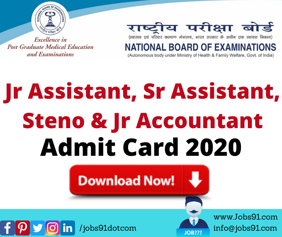 NBE Jr Assistant, Sr Assistant, Steno & Jr Accountant Admit Card 2020 @ Jobs91.com