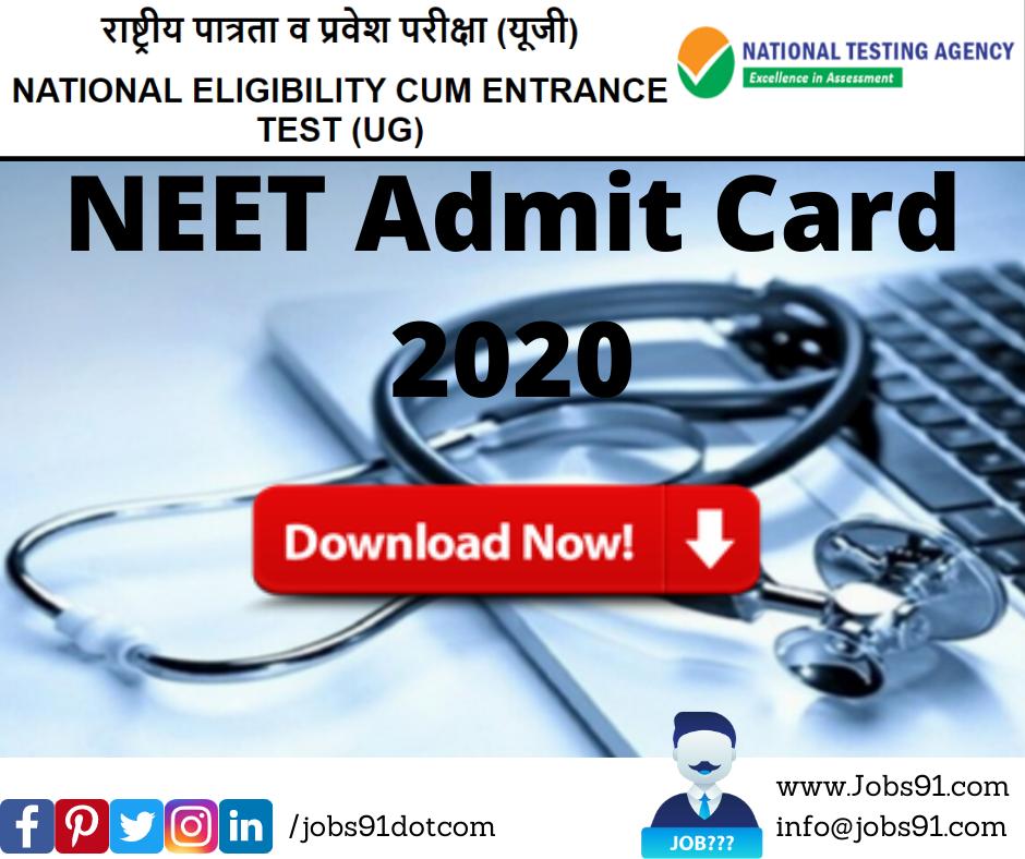 NEET Admit Card 2020 @ Jobs91.com