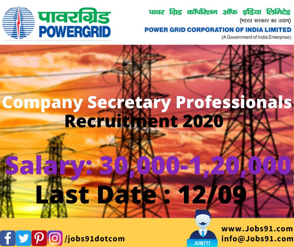 PGCIL Company Secretary Professionals Recruitment 2020 @ Jobs91.com
