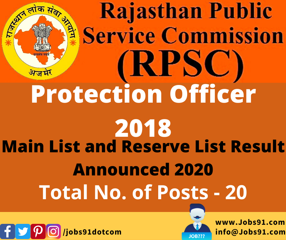 RPSC Protection Officer Main List Result 2018 @ Jobs91.com