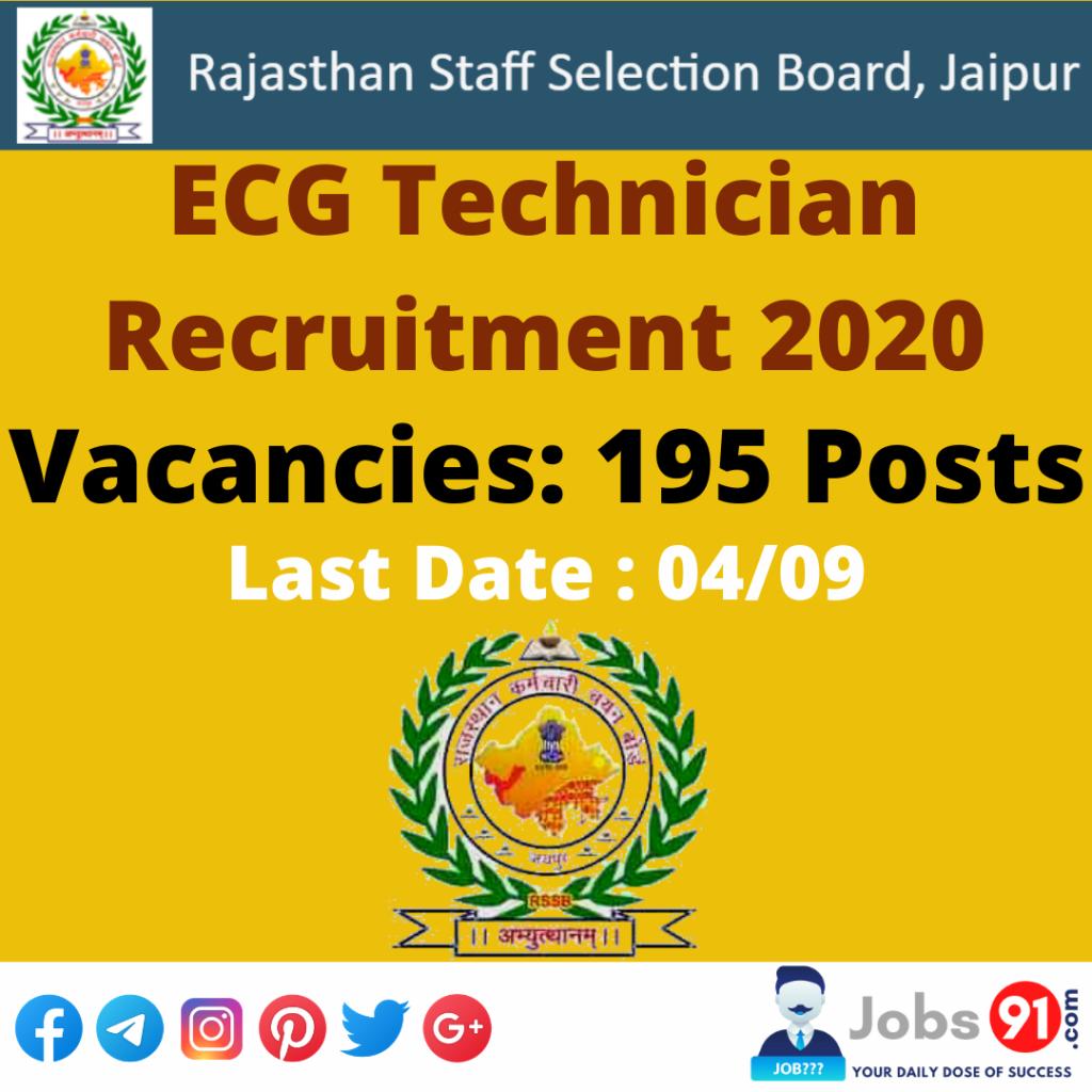 RSMSSB ECG Technician Recruitment 2020 @ Jobs91.com