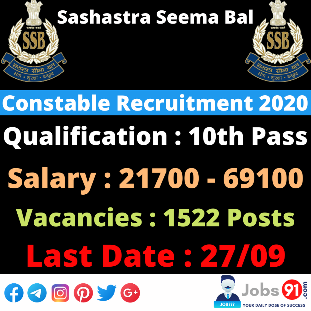 SSB Constable Recruitment 2020 @ Jobs91.com