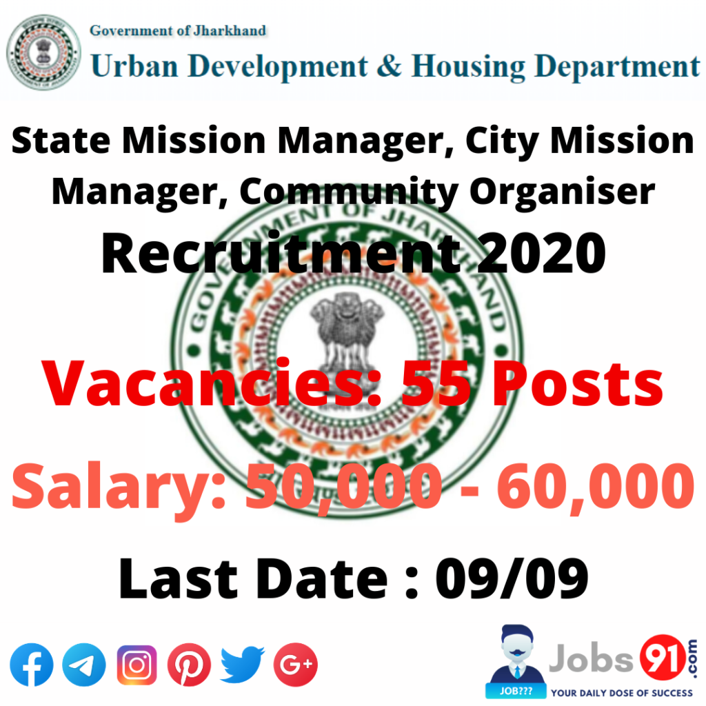 UDHD Jharkhand Recruitment 2020 @ Jobs91.com