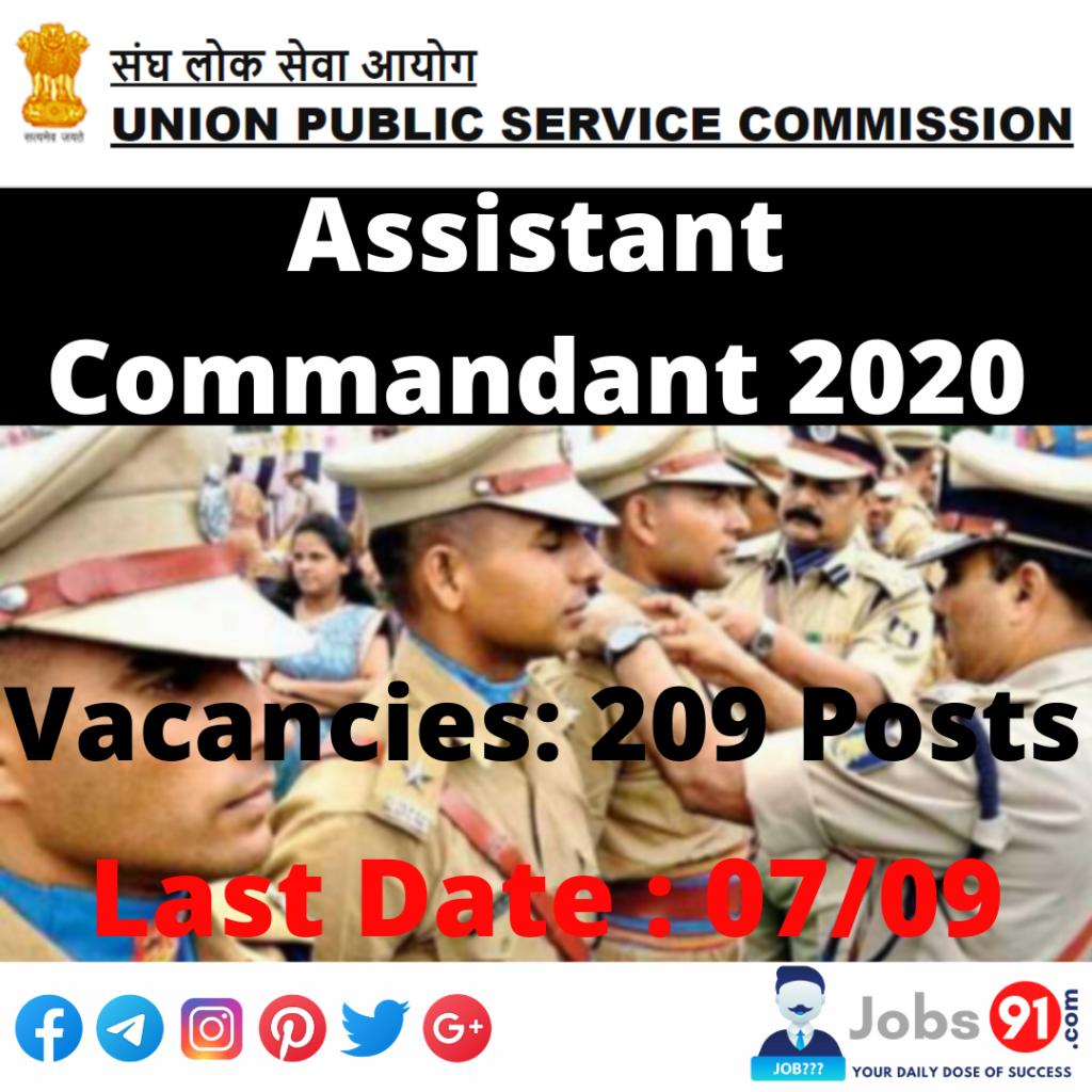 UPSC CAPF Assistant Commandant 2020 @ Jobs91.com
