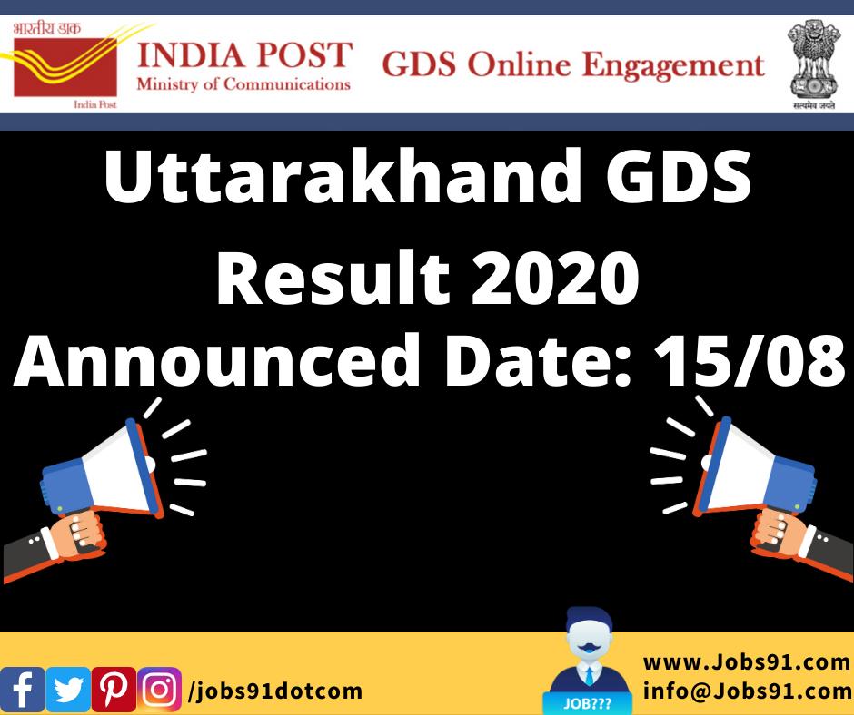 Uttarakhand GDS Result 2020 @ Jobs91.com