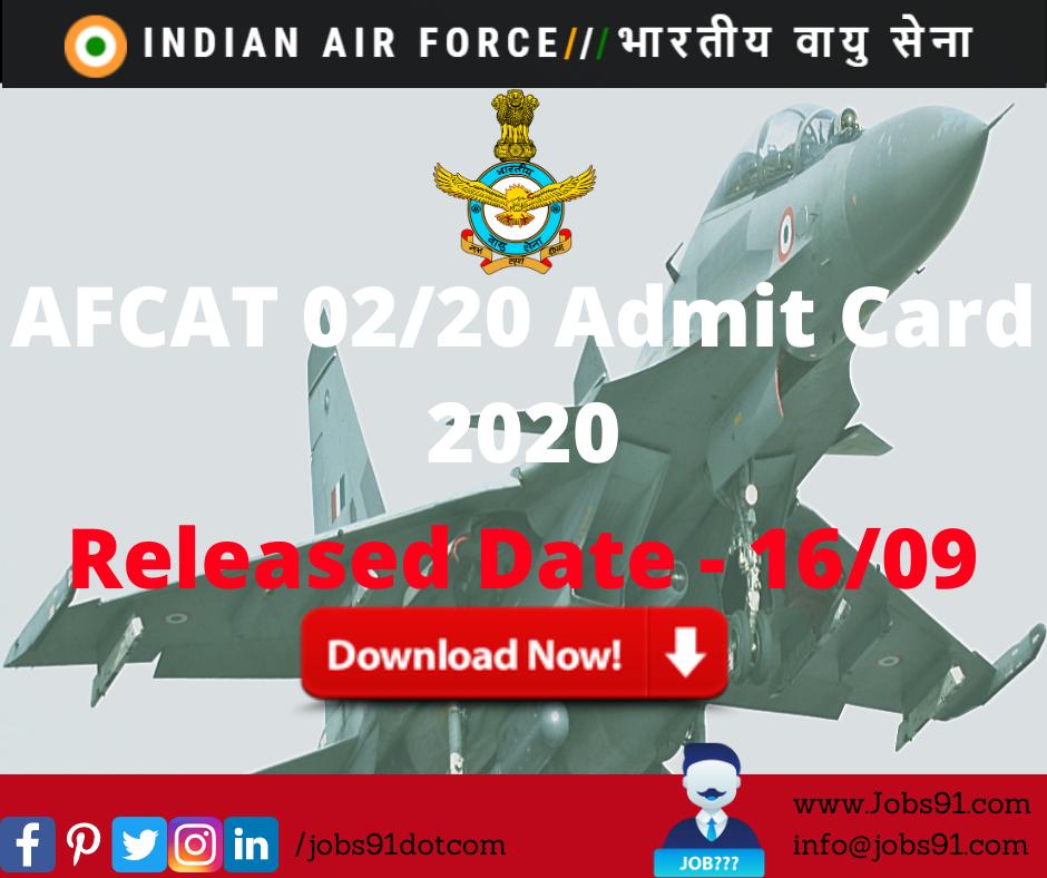 AFCAT 0220 Admit Card 2020 @ Jobs91.com