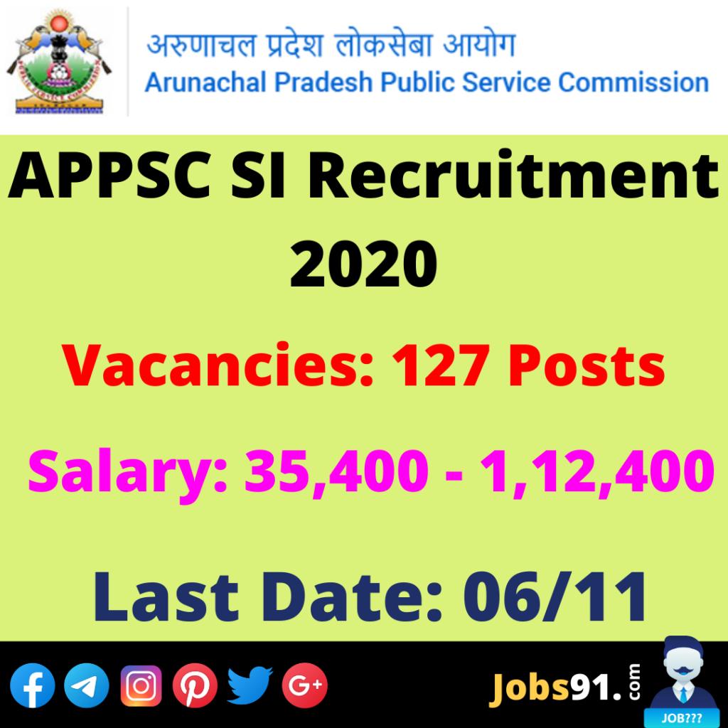 APPSC SI Recruitment 2020 @ Jobs91.com