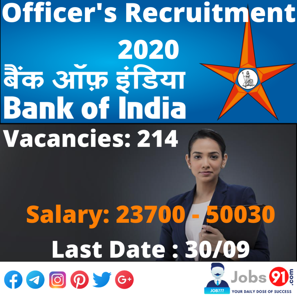 BOI Officer Recruitment 2020 @ Jobs91.com