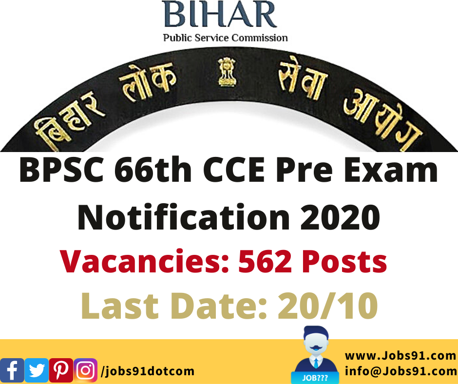BPSC 66th CCE Notification 2020 @ Jobs91.com