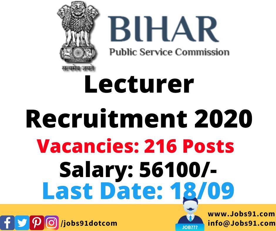 BPSC Lecturer Recruitment 2020 @ Jobs91.com