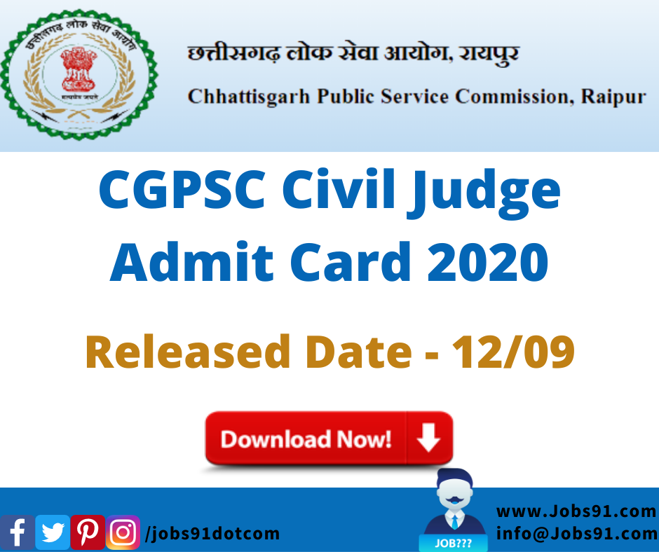 CGPSC Civil Judge Admit Card 2020 @ Jobs91.com
