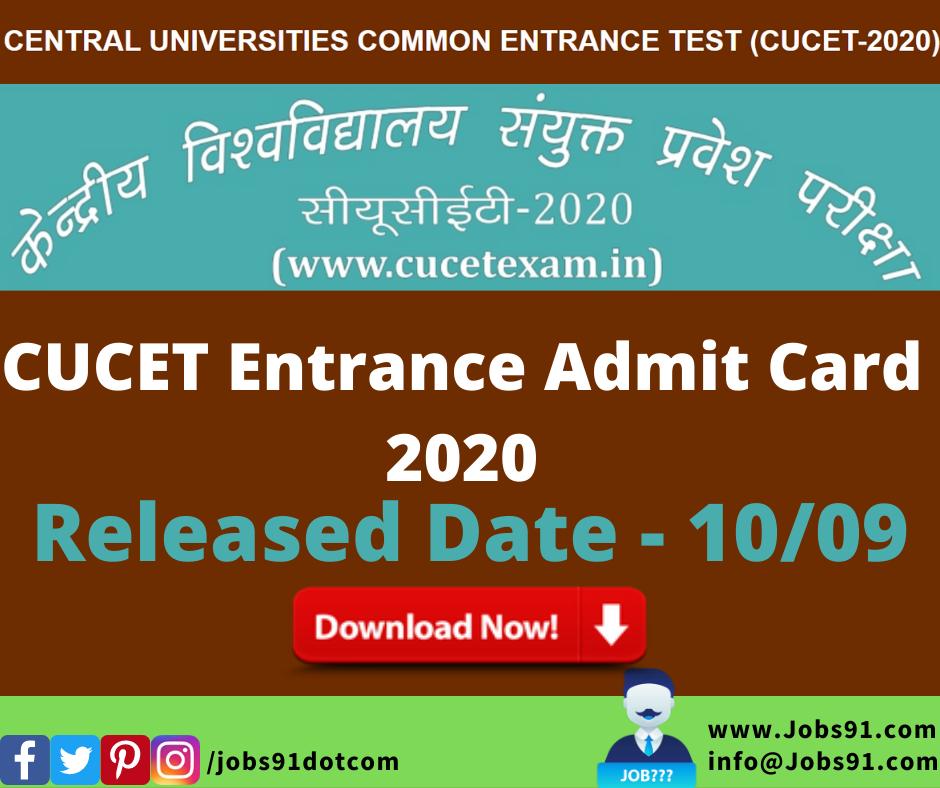 CUCET Entrance Admit Card 2020 @ Jobs91.com