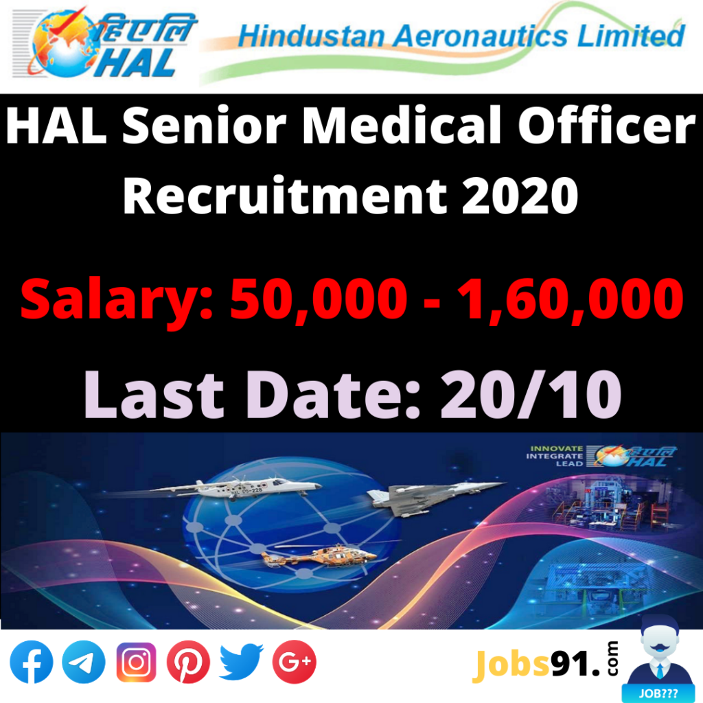 HAL Senior Medical Officer Recruitment 2020 @ Jobs91.com